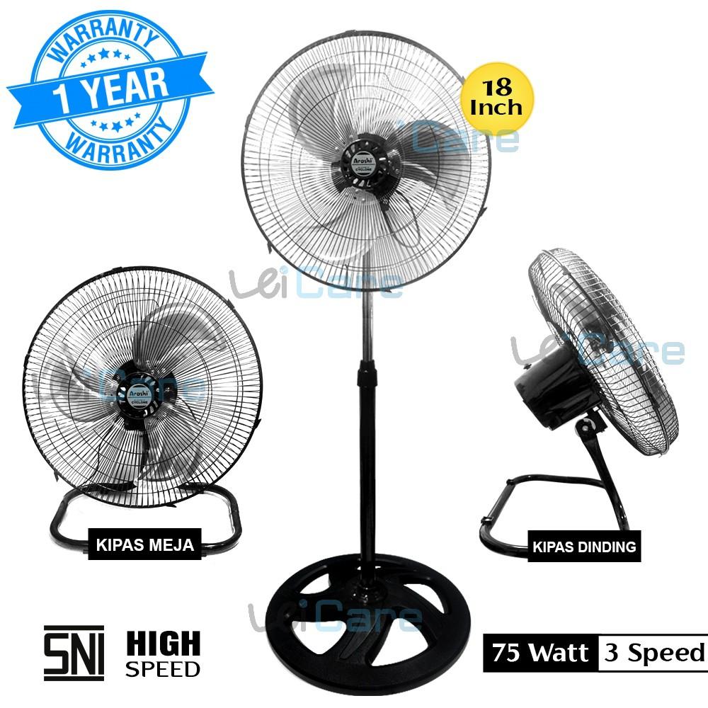 Arashi Kipas Angin Berdiri 3 In 1 City Fan Ar 118x Swd 18 Inch Bigsize Fan 3 Fungsi Dinding Duduk Shopee Indonesia Berapa watt kipas angin