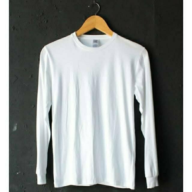 Kaos Polos Putih Lengan Panjang Premium Cotton Shopee Indonesia