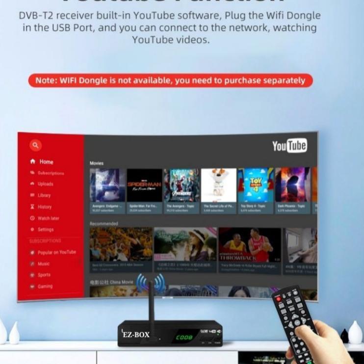 Grosiran Murah EZ-BOX SET TOP BOX DVB-T2 PENERIMA SIARAN TELEVISI DIGITAL YOUTUBE WIFI