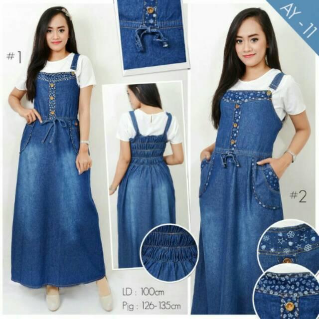 Overall Jeans Muslim Rok Kodok Panjang Ay 11 Shopee Indonesia