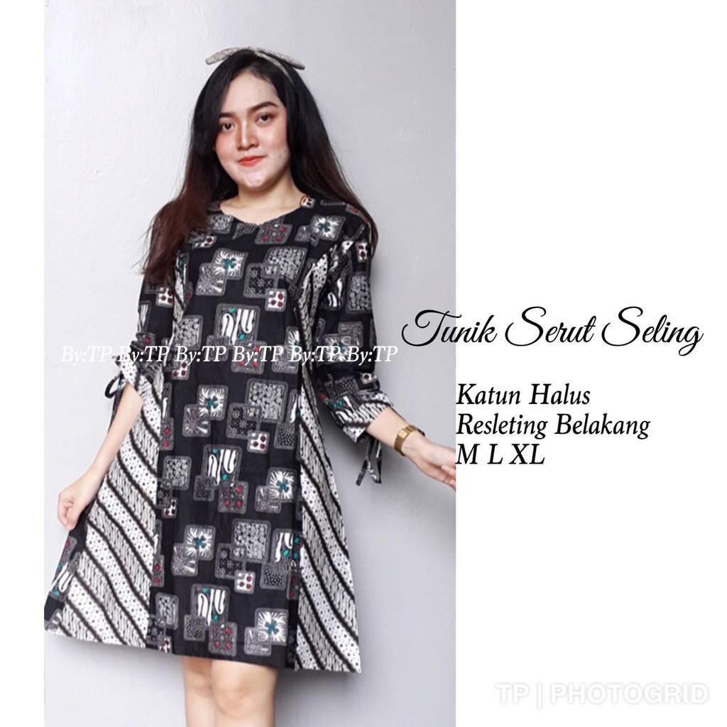 Baju Batik Tunik Serut Seling Dress Murah Wanita Lengan Panjang Model Serut Bahan Katun