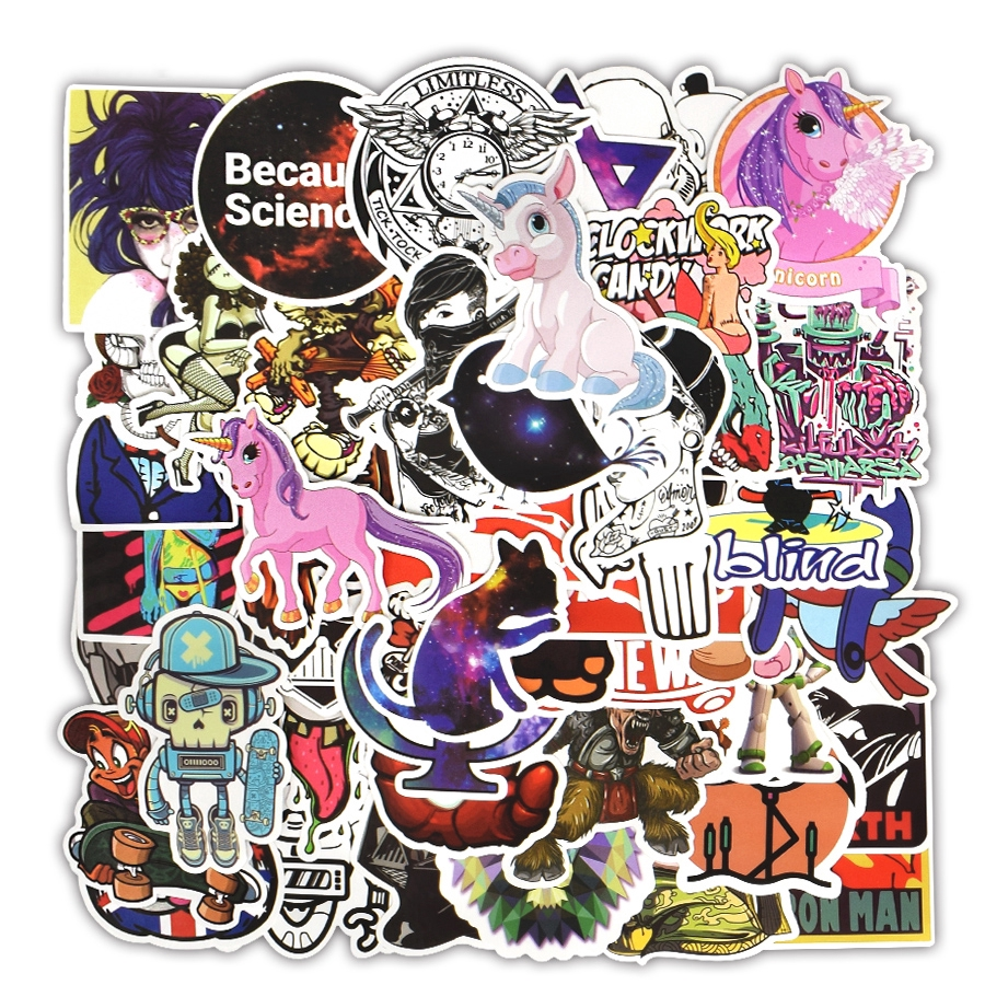 100 PCS Waterproof Cartoon Stickers For Laptop Skateboard Guitar Luggage Car Bike Motorcycle Sticker Bomb Decals Kid Classic Toy
