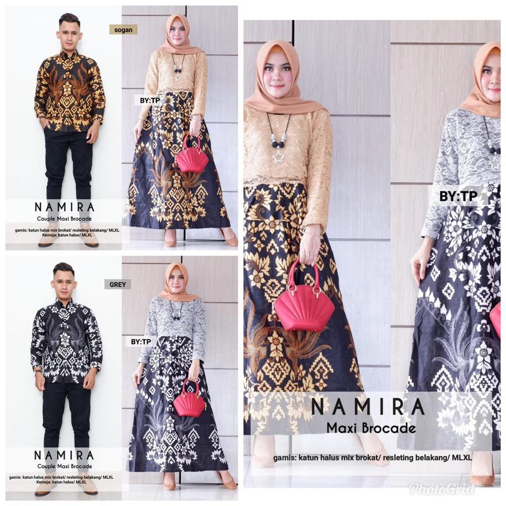 Zola Batik Batik Couple Gamis Maxi Brokat Namira