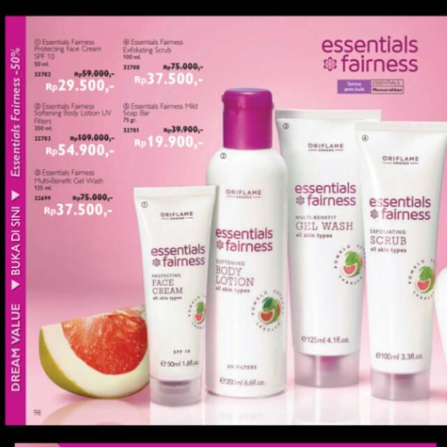 essentials fairness face cream gel wash scrub body lotion krim wajah scrub wajah hand body