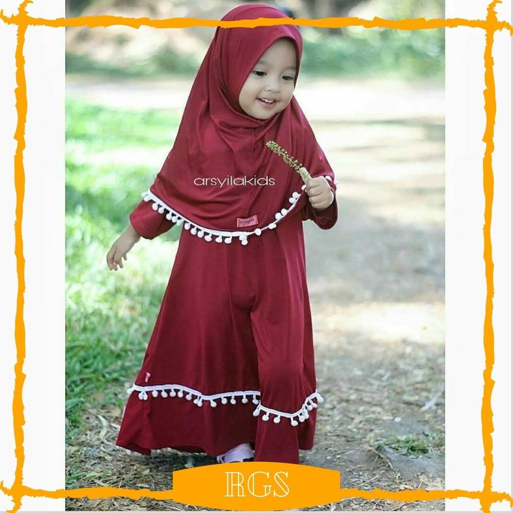 Cod Pompom Baju Gamis Anak2 Perempuan Syari Terbaru Set Kerudung Ld 60cm Usia 2 3 Tahun Murah Lucu Shopee Indonesia
