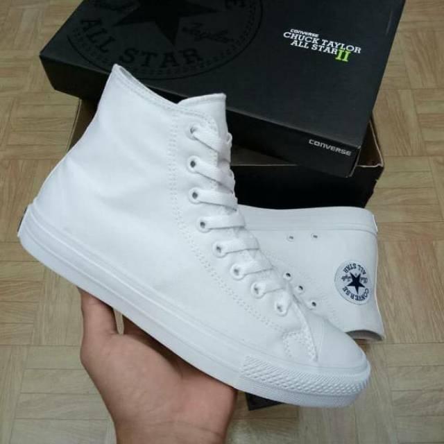 Sepatu Converse All Star High Chuck Taylor II CT2 Lunarlon Full All White BNIB Original Premium