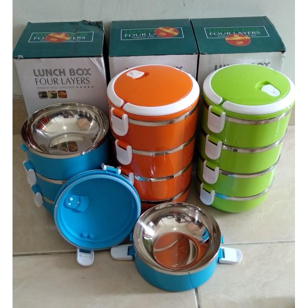Rantang 3 Susun Stainless Steel Eco Lunch Box Glossy - HPD185 - Biru | Shopee Indonesia