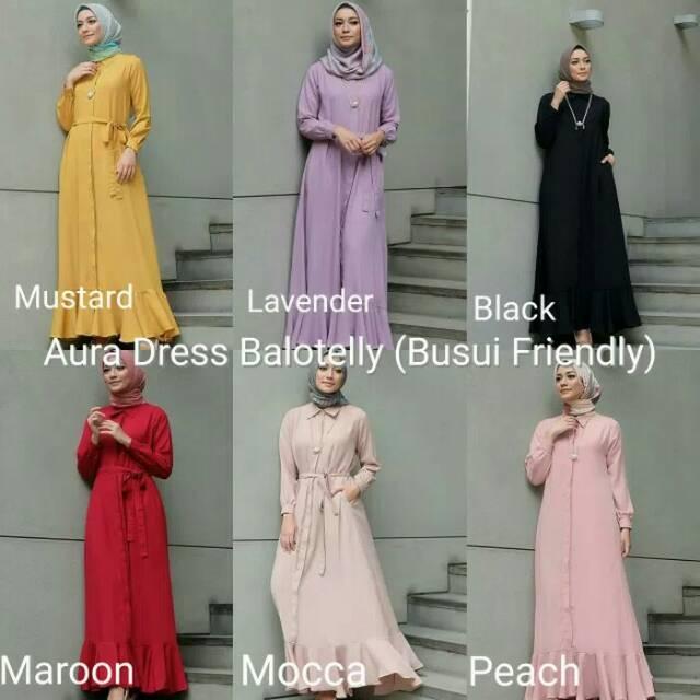 Gamis Muslimah Dres Muslimah Baju Wanita Aura Dress Shopee Indonesia
