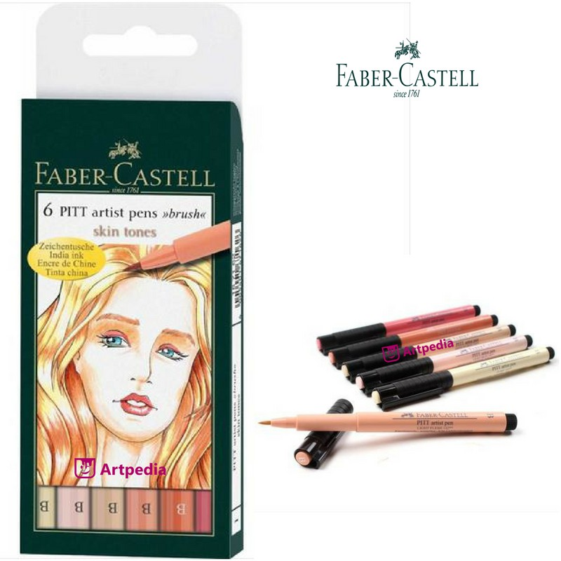 Faber-Castell PITT Artist Pens Grey Blue India Ink Skin Tones Pack of 6