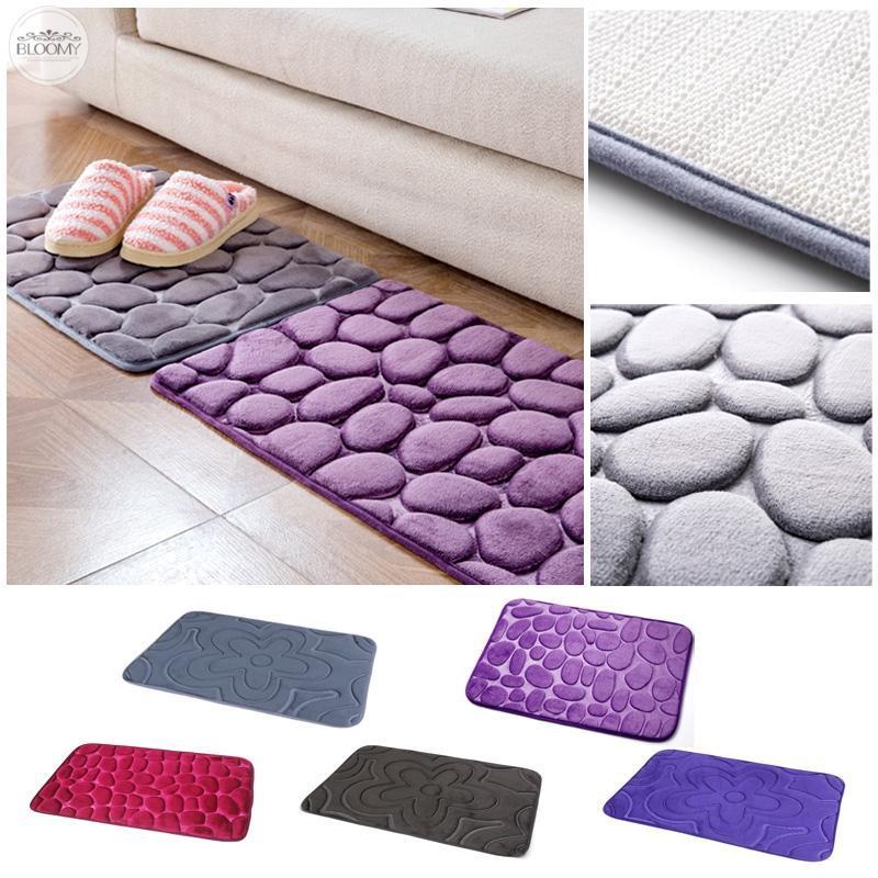 Non-Slip Pebble Flannel Bathroom Kitchen Rug Foam Pad Mat Shower Floor Carpet
