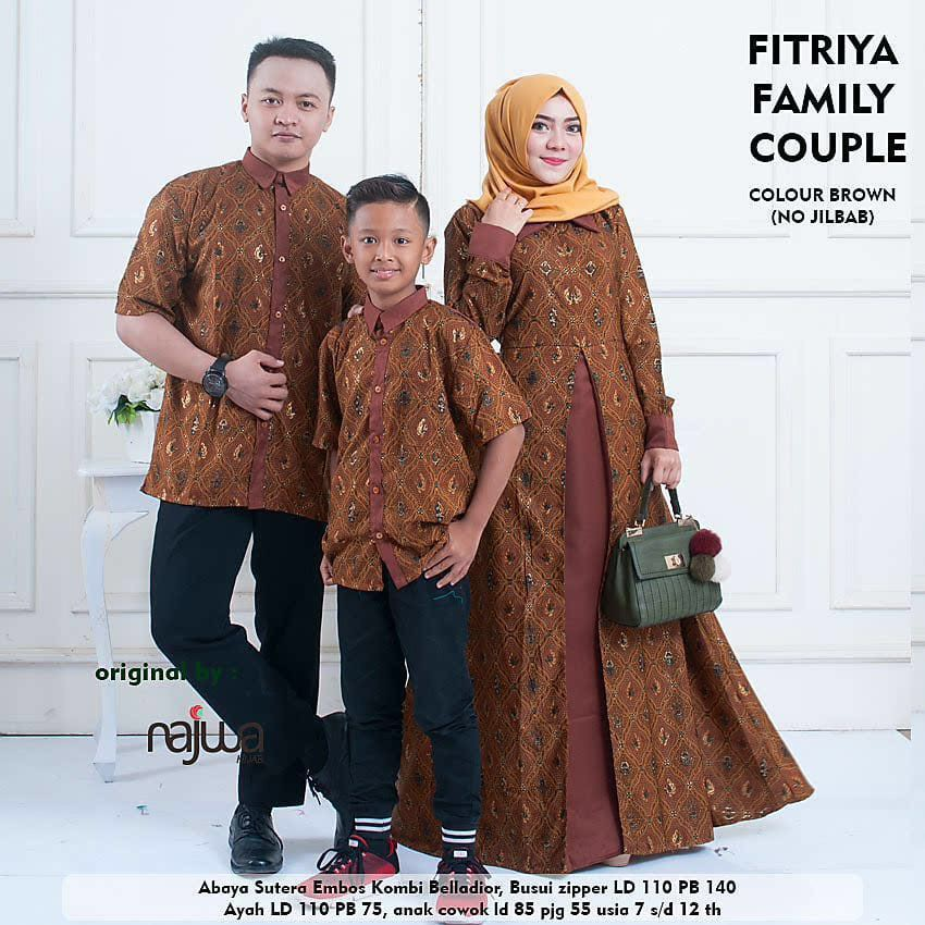 Baju Couple Keluarga Fitriya Ori Najwa Kemeja Pria Gamis Koko Anak
