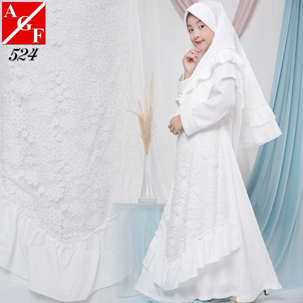 【⌀ BURUAN】AGNES Gamis Putih Anak Perempuan Baju Muslim Baju Umroh Anak Baju  Lebaran Anak Wanita #8
