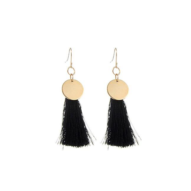 LRC Anting Gantung Trendy Black Multielement Pendant Decorated Simple Design Alloy Korean Earrings | Shopee Indonesia