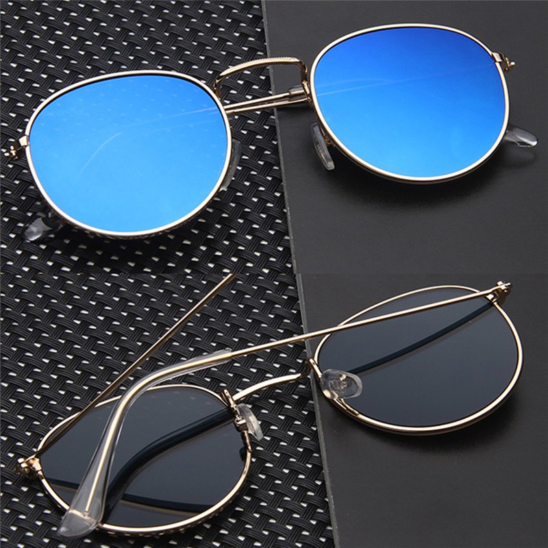 Popular❤ Metal Frame Colored Lens UV Protection Sunglasses Gelas kacamata  cermin datar  496f9166d6