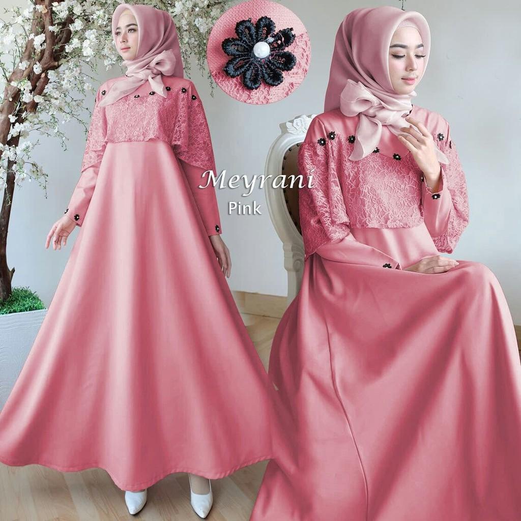 T21 Baju Gamis Pesta Muslim Wisuda Remaja Polos Kombinasi Brokat Syari Modern Gina Brukat Riani Warna Coklat Gold Shopee Indonesia