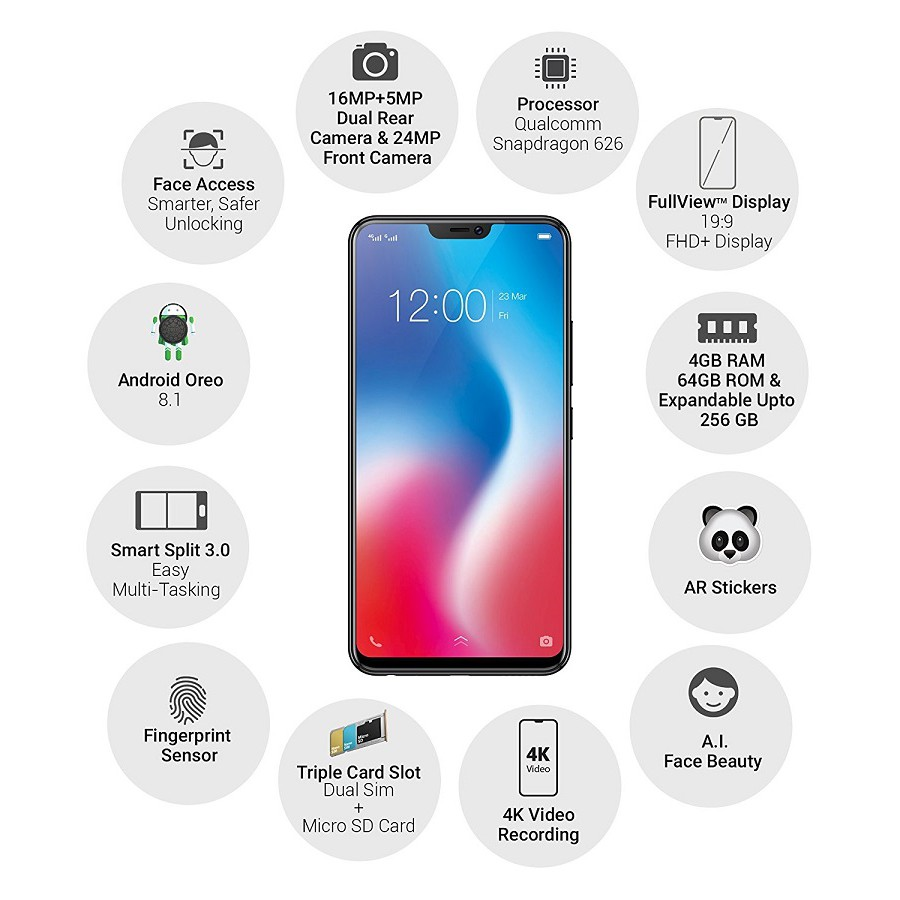Tempered Glass VIVO V9 V7 PLUS V5 V5S LITE Y71 Y69 Y53 Y51 Y83 V11 Screen  Guard anti gores