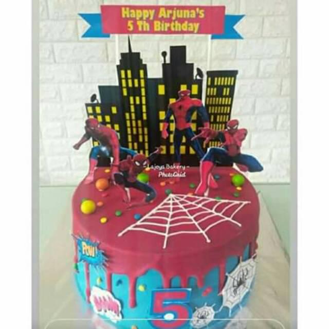 Tart Karakter Murah Birthday Cake Kue Ulang Tahun Enak Spiderman Cake Shopee Indonesia