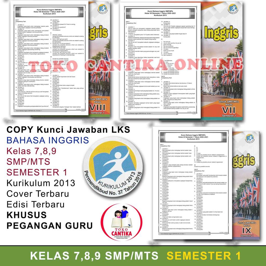Copy Kunci Jawaban Lks Bahasa Inggris Kelas 789 Smp Semester 1 Khusus Pegangan Guru Kurikulum 2013 Shopee Indonesia