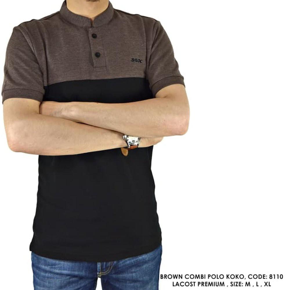 Baju Kaos Polo Kerah Coklat Shanghai Pria Biru Shopee Indonesia