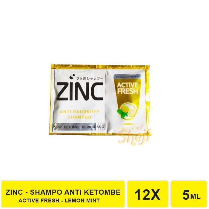 SHAMPO ZINC SACHET 1 RENCENG ISI 12 SACHET / SHAMPO ANTI KETOMBE ZINC-ZINC KUNING