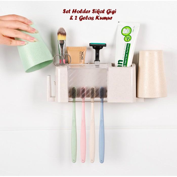 Set Alat Kamar Mandi Berupa Wadah Penyimpanan Sikat Gigi dan Pasta Gigi + Gelas  Kumur  cf57c3f116