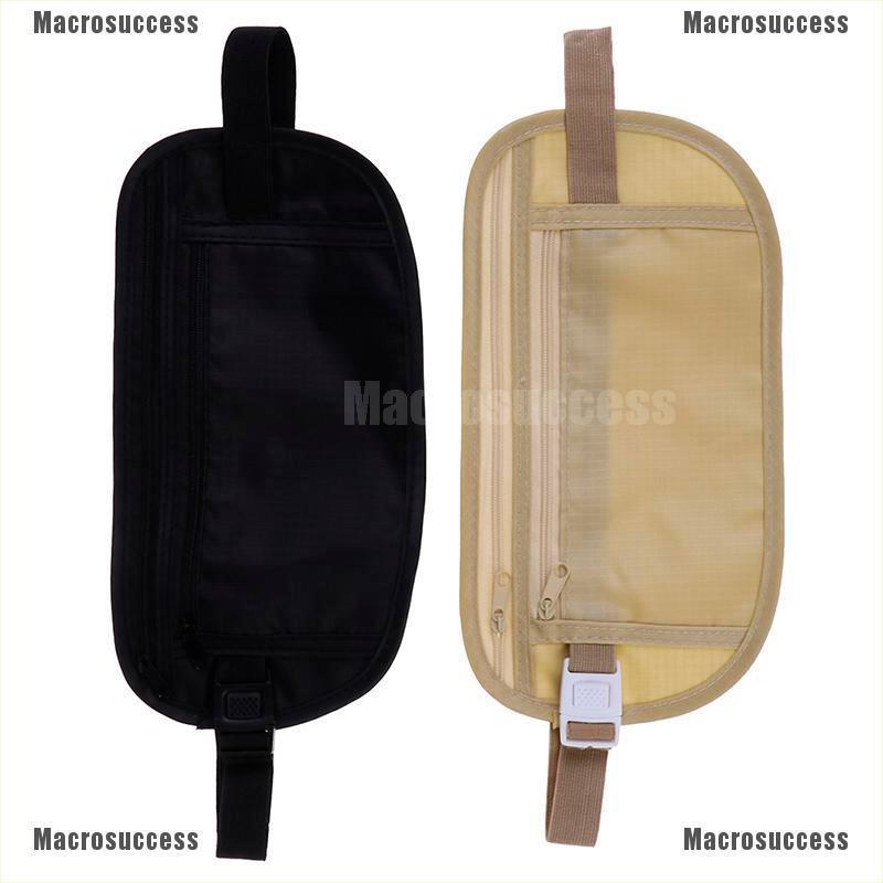 Travel Pouch Hidden Zippered Waist Compact Security Money Waist Belt Bag LS