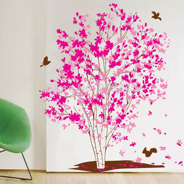 dekorasi rumah: stiker dinding vinyl gambar bunga rottan mekar warna