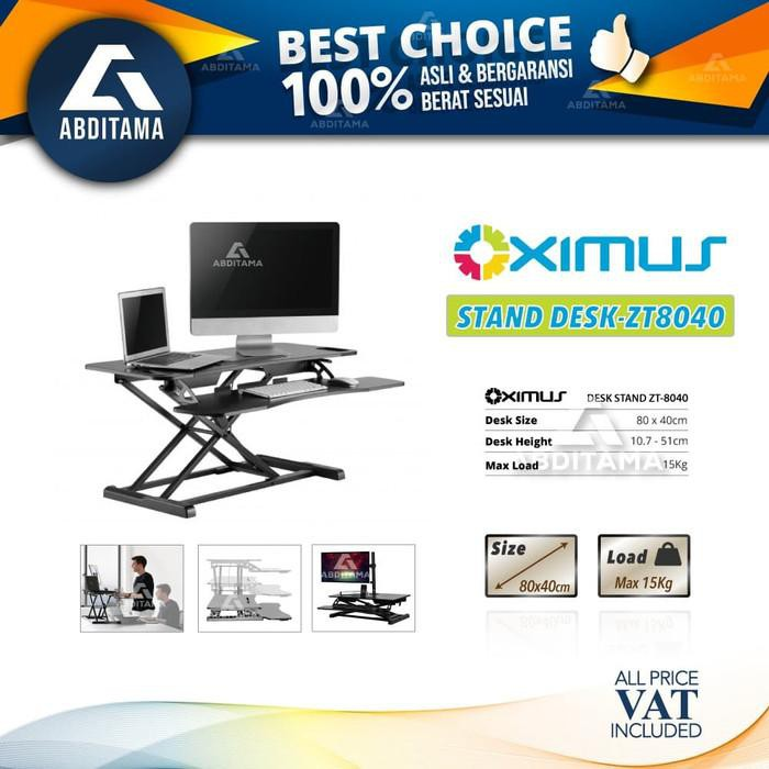 Fitness Height Adjustable Sit Stand Desk Office Computer Oximus Zt8040 8040 Shopee Indonesia