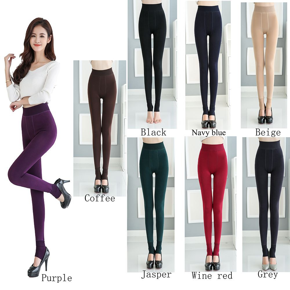 New Women/'s Red Fleece Lined Thermal Thick Winter Leggings Warm One Size
