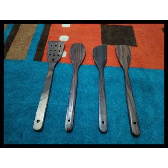 Sutil/Sendok/Spatula/Sodet Kayu Sonokeling set isi 4 pcs | Shopee Indonesia