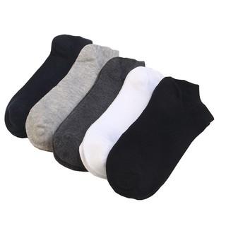 5Pcs Kaos Kaki Casual Bahan Katun Tipis Breathable Warna Polos untuk Pria