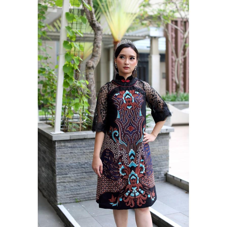 Arcobaleno Dress Batik Rr1938 Tunik Batik Lebaran Dan Pesta Motif Padi 3d Kombinasi Brokat