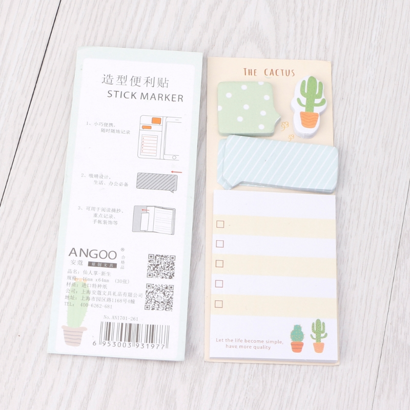 Btf 2pcs Cute Cactus Sticky Note Office Supplies Bookmark Paper Scrapbooking Sticker Shopee Indonesia