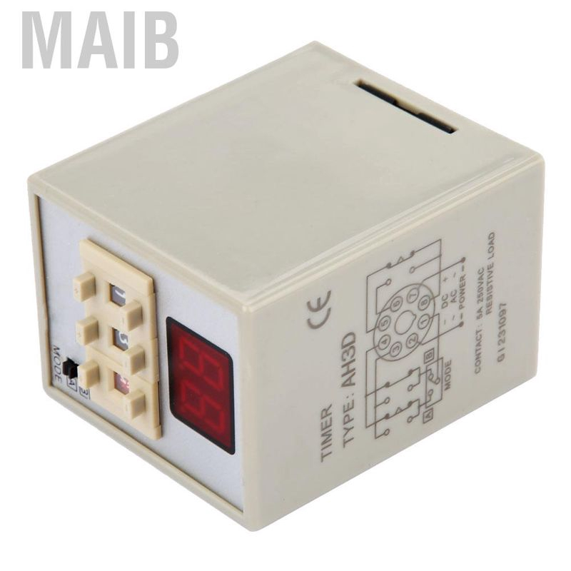 AH3D LED Timer Relay 2-Digit Time Relay 9.9S 99S 9.9M 99M 9.9H 99H Adjustable HD