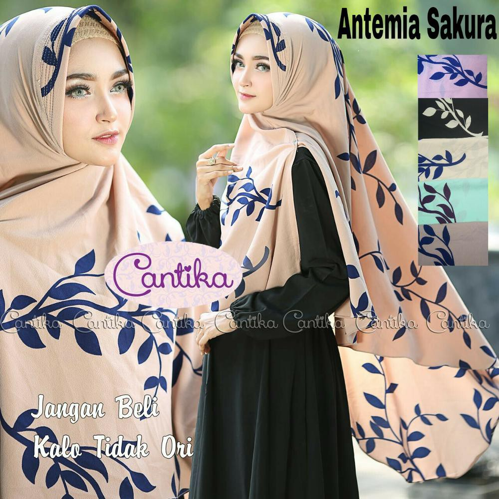 Jilbab Khimar Antemia Sakura Hasinaga Syari Hijab Bergo Motif Daun Bunga Jumbo Syar I Ori Cantika Shopee Indonesia