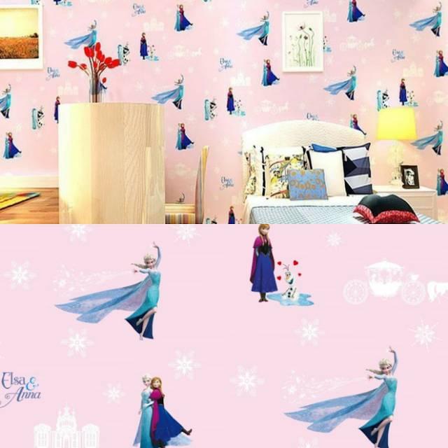 Wallpaper Dinding Murah Motif Elsa Anna Frozen Cantik Untuk Kamar Ruang Bermain Anak Kesayangan Anda