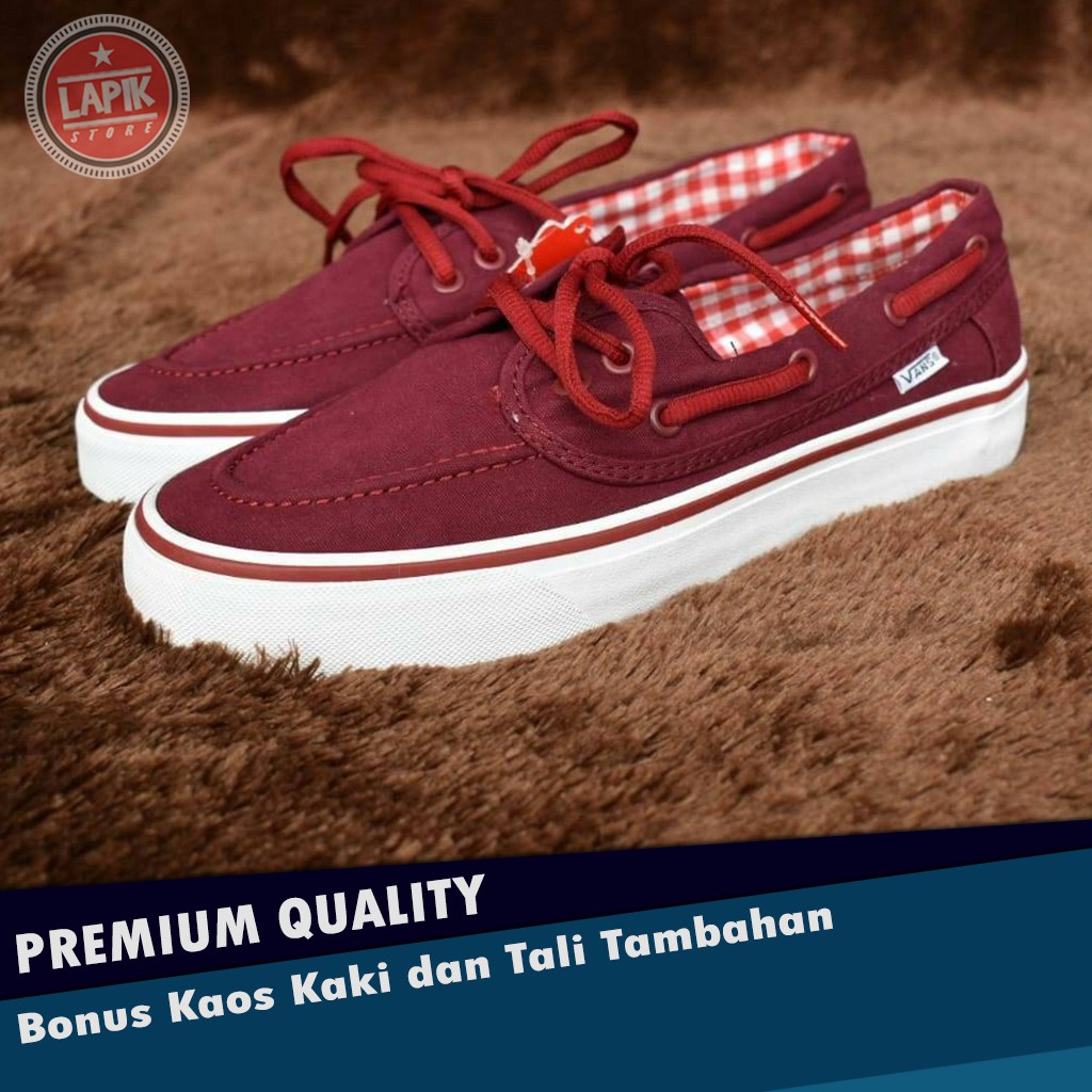 VANS ZAPATO BASIC RED MAROON WHITE Kode Waffle EHC dan DT 71ef3dfc49