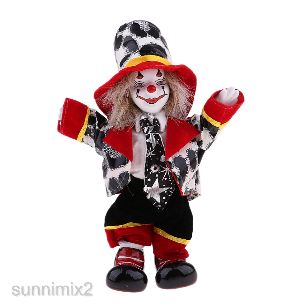 18cm Clown Collection Red Haired Clown Doll Figure Porcelain Dolls Model Toy