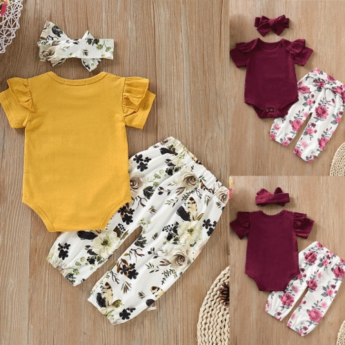 Canis Newborn Baby Girl Flowers Romper Bodysuit Jumpsuit Summer Outfit Clothes