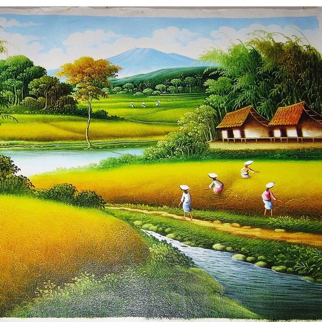 Lukisan Pemandangan Alam Dan Sungai Yang Indah Shopee Indonesia