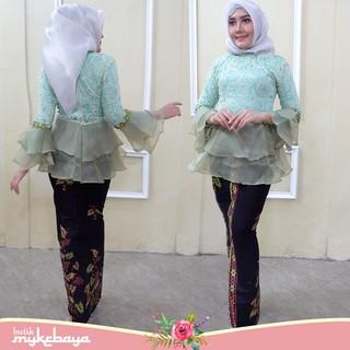 Set Kebaya Brokat Peplum Set Rok Span Batik Modern Kebaya Hijab