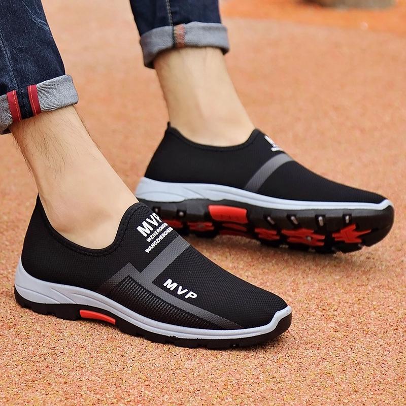 Sepatu Sneakers Pria Tanpa Tali Breathable Olahraga Running Pria