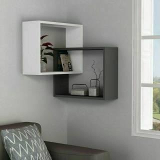 rak bunga dari kayu dinding minimalis foto modern ruang
