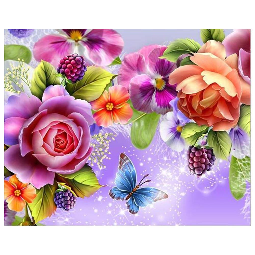 DIY Lukisan Diamond 5D Dengan Gambar Bunga Dan Kupu Kupu Untuk Hiasan Dekorasi Rumah