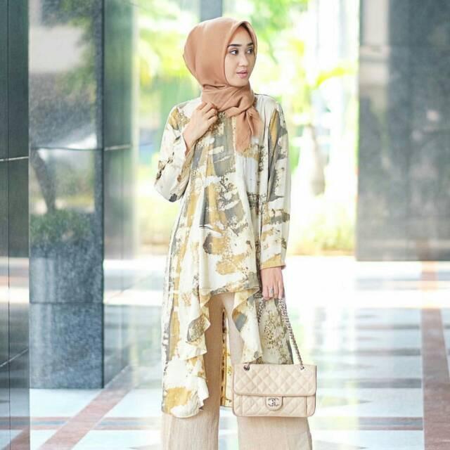 Makiya Tunik Batik Abstrak By Dian Pelangi Atasan Top Blouse Kemeja Baju Shirt