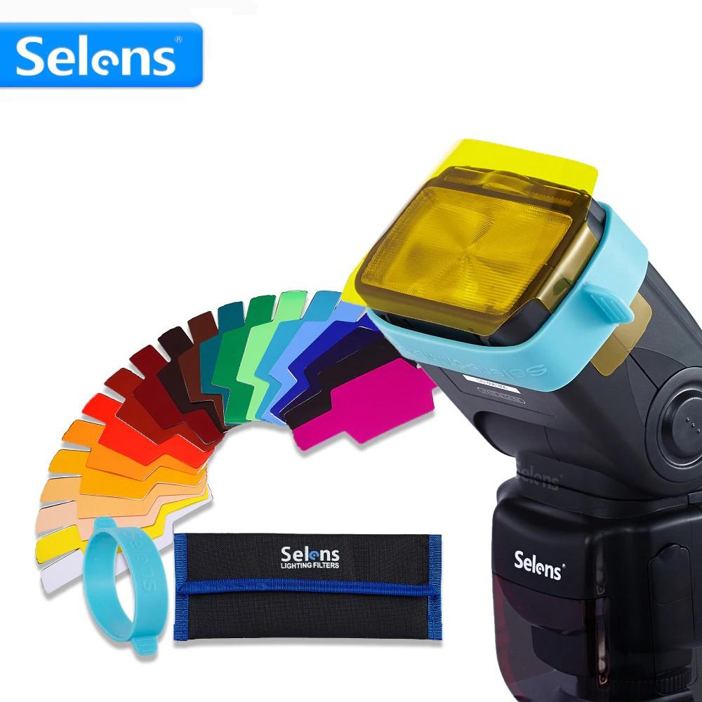Selens Universal Flash Gels Lighting Filter SE-CG20-20 pcs Combination Kits for Canon Nikon Sony Godox Yongnuo Camera Flash Light