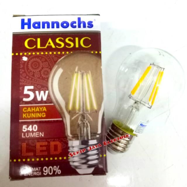 Lampu Led Classic Hannochs 8w Model Pijar Lama Cahaya Kuning Bergarans | Shopee Indonesia