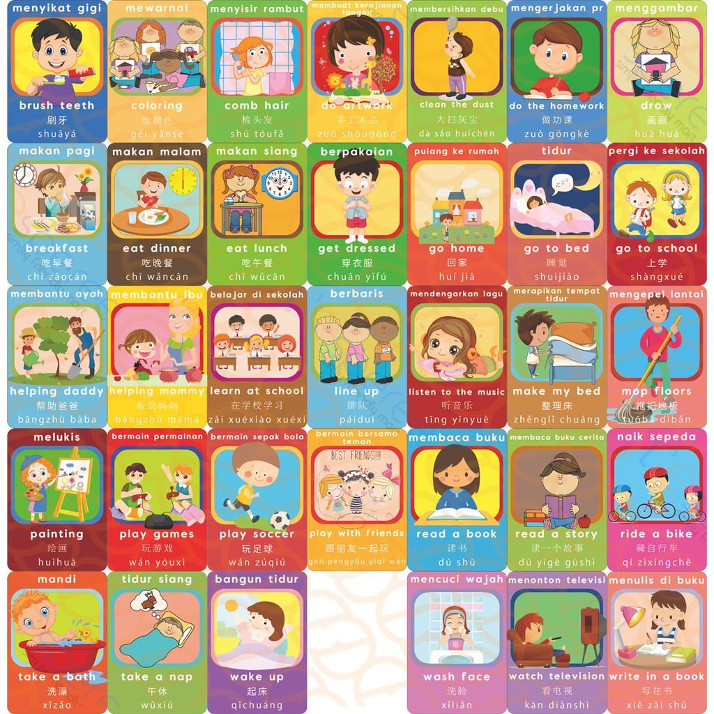 Flash Cards Daily Activity Kartu Belajar Anak Kegiatan Sehari