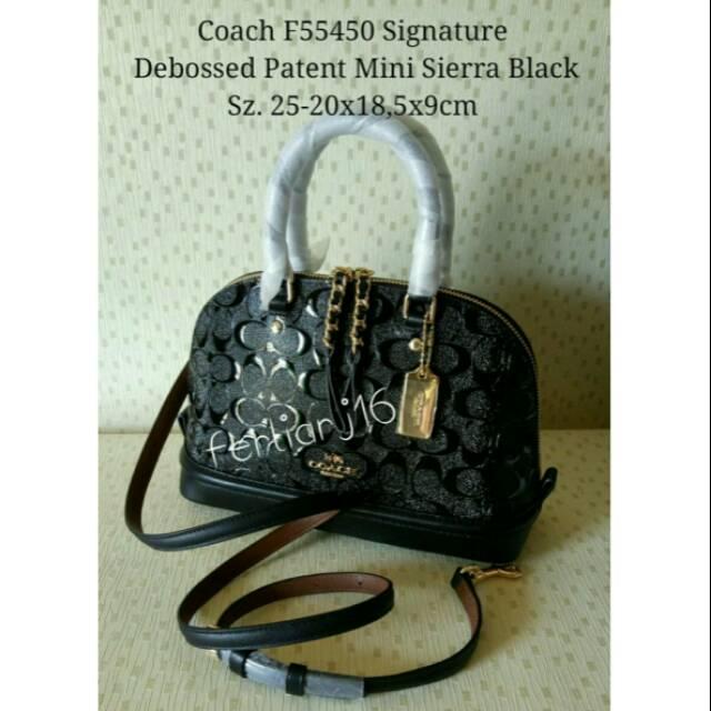 Coach F55450 Signature Debossed Patent Mini Sierra Black
