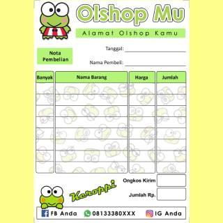 Nota Penjualan Pembelian Custom Toko Olshop Online Shop Karakter Kartun Keroppi Unik Lucu Imut Murah